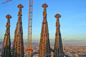 Bell towers and city of Barcelona